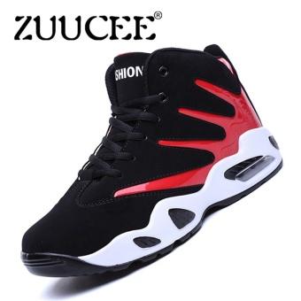 ZUUCEE Pria Musim Dingin Tinggi Top Sepatu Bola Basket Causion Olahraga  Sneakers (Merah Hitam) eb9c24695e