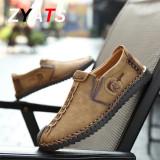 ZYATS Kulit Men's Flats Sepatu Moccasin Casual Loafers Slip-On Besar Ukuran 38-46 Khaki - 4