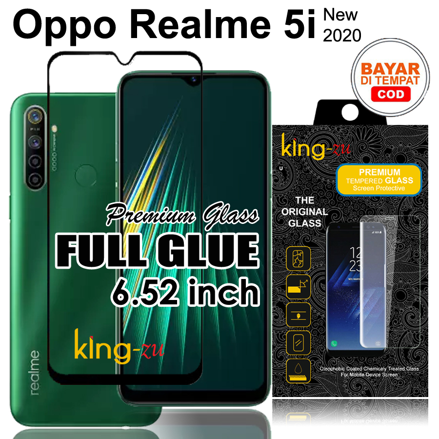 Bayar Di Tempat Tempered Glass Full Lem Full Cover - Oppo Realme 5i (6.52inch) 2020 New Anti Gores Kaca List Hitam / Screen Guard / Screen Protector Full Screen Glass (COD) Full Screen Black Screen Anti Gores Realme 5i/realme 5 i  - Black / Hitam