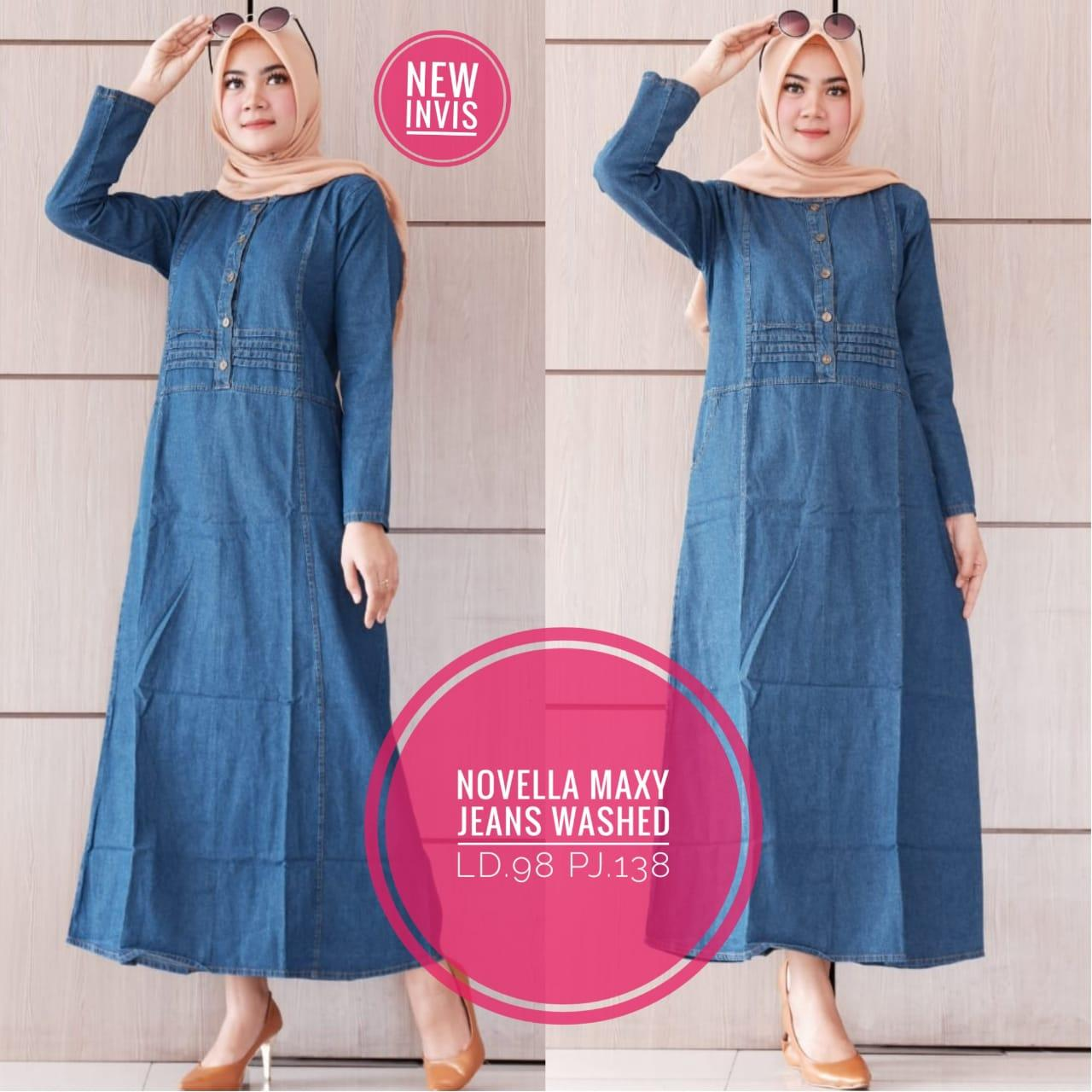 Novella Dress jeans - Terusan Wanita Jeans - Long Dress Denim - Gamis Jeans - MBK Store