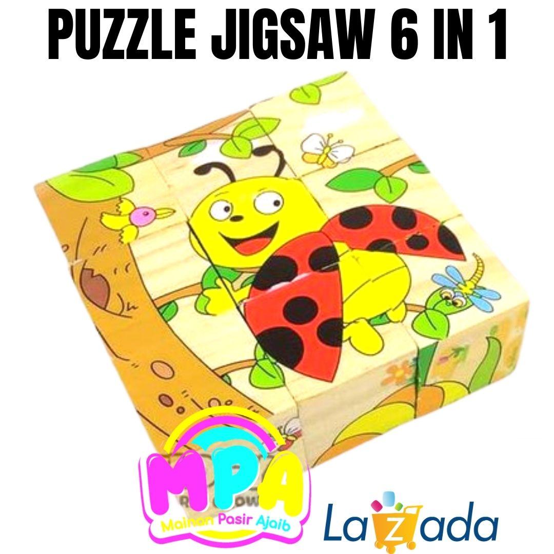 mainan edukatif edukasi anak 6 in 1 jigsaw puzzle kayu karakter lucu