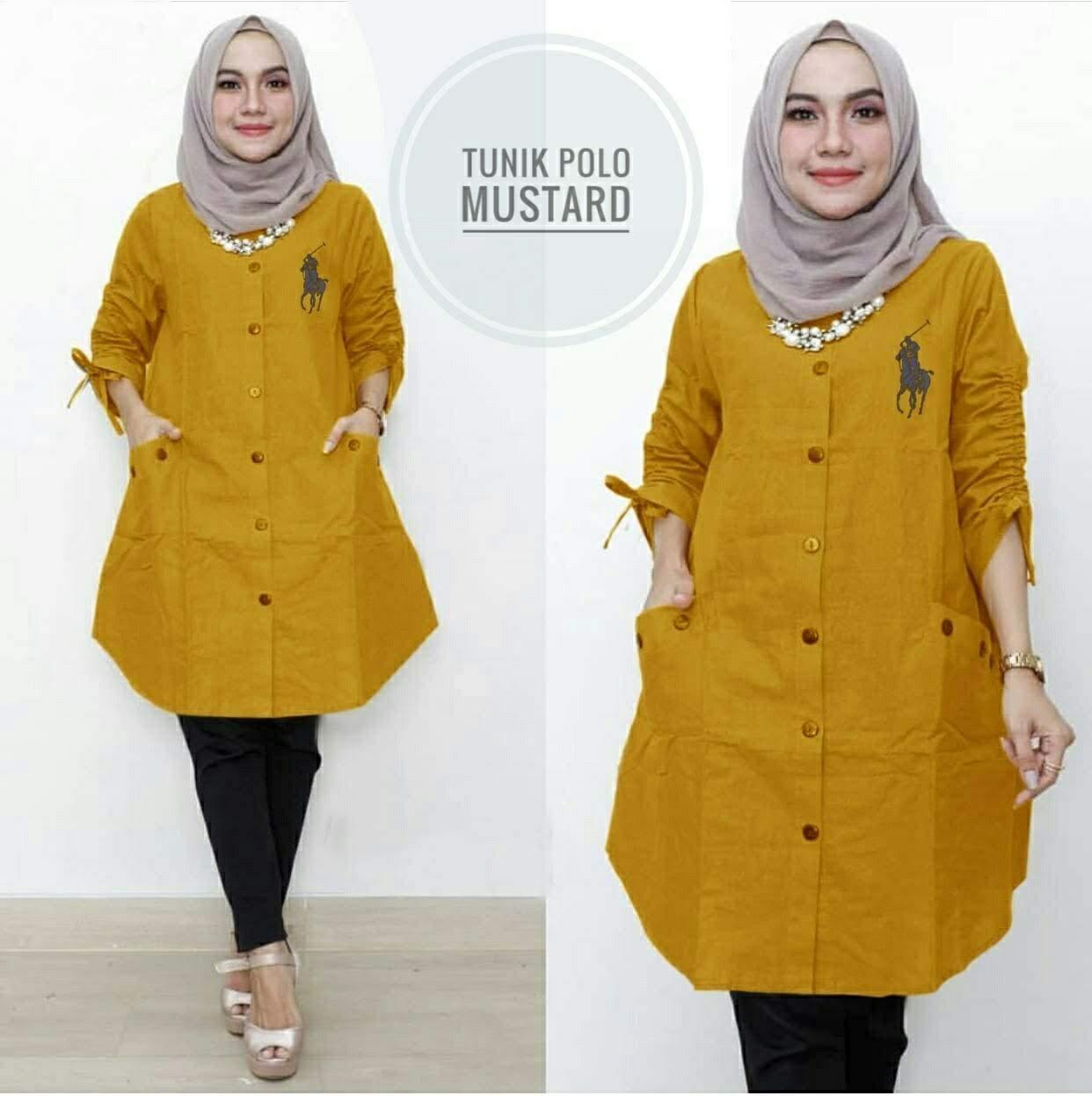 Tunik Muslim Polo - Atasan Fashion Wanita - Fashionable Tunik Aiko Maroon