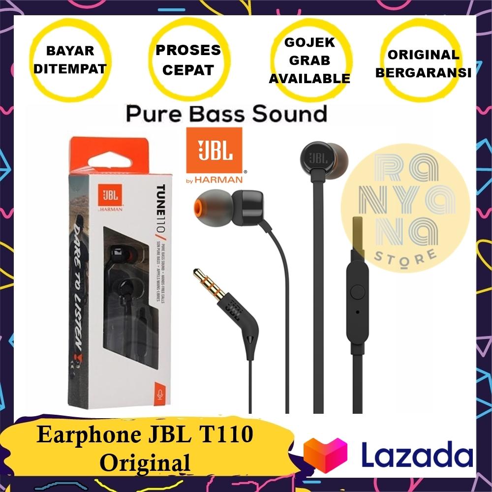 earphone / handsfree jbl t110 in ear headphones compatible android ios 100% original – hitam