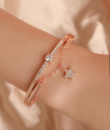 wd! .. aksesoris / perhiasan /  bracelet /  gelang   / titanium model k pop dengan permata zirkon model   / aksesoris wanita (l&a2)