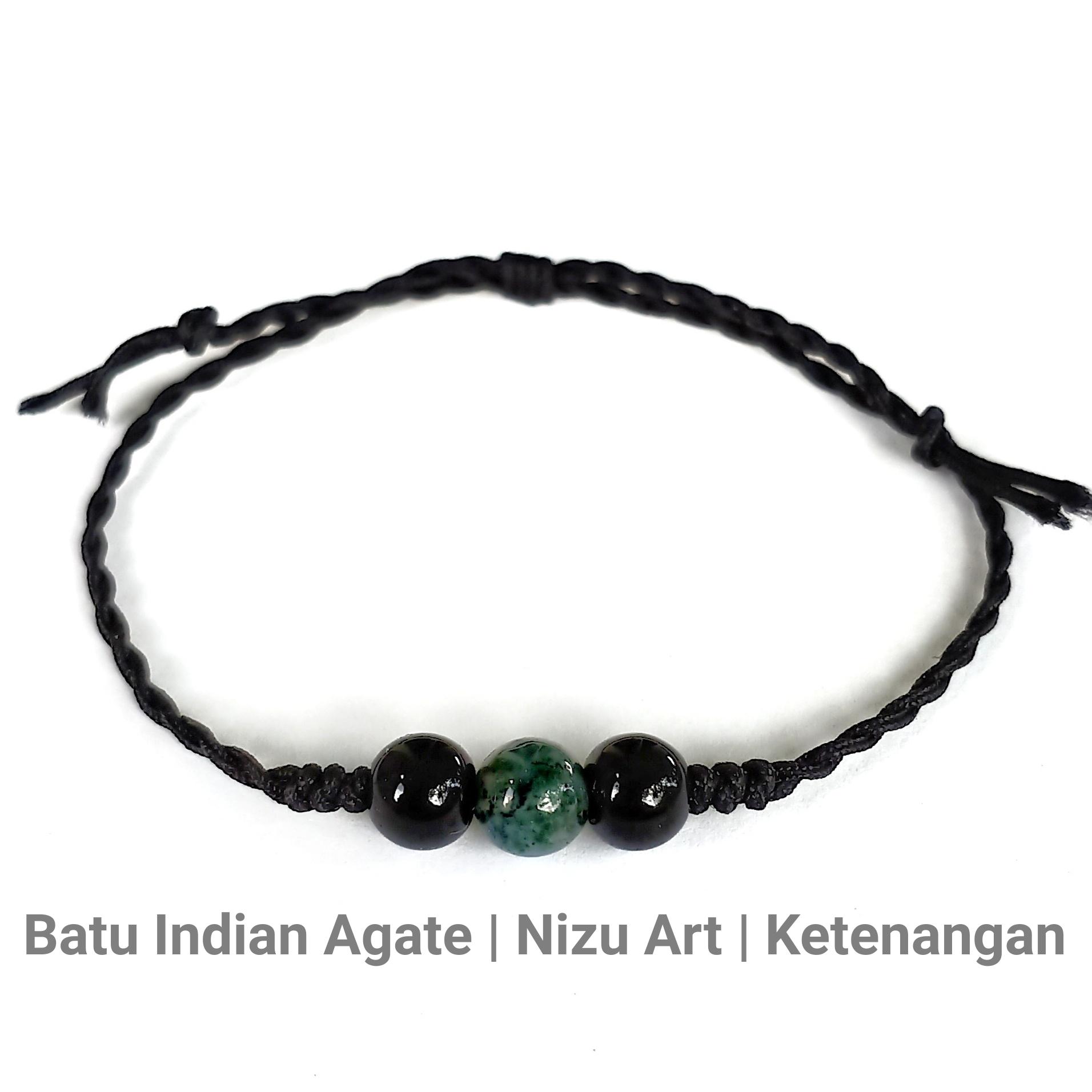 gelang batu alam indian agate tali giok etnik handmade pria wanita couple keberuntungan