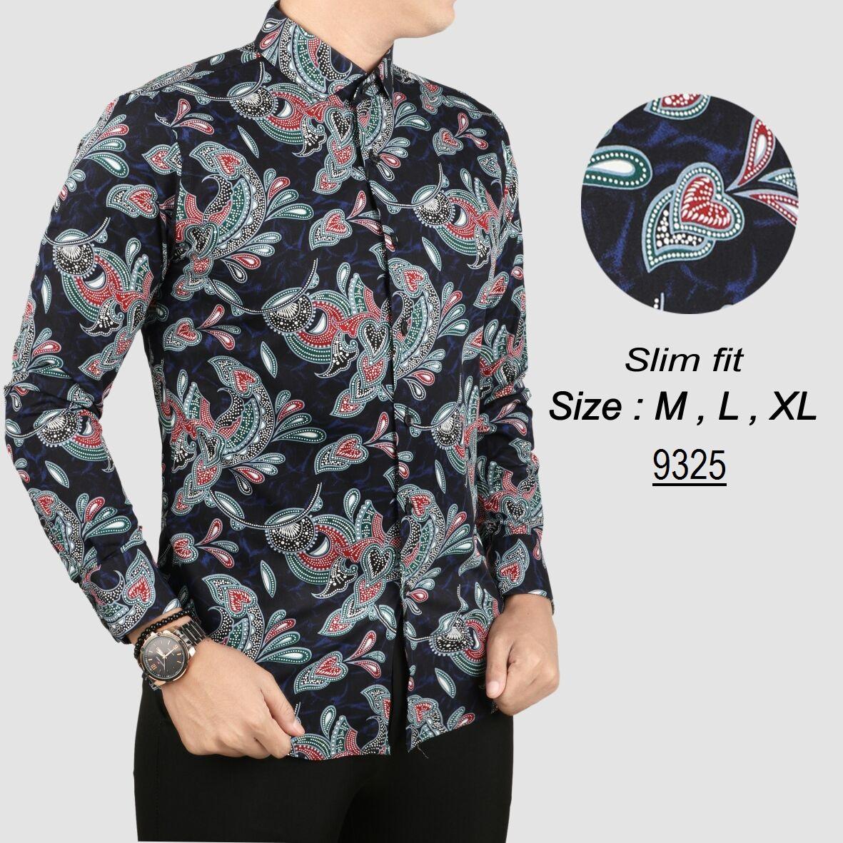 her+man batik pria modern kemeja batik pria slim fit 8136w