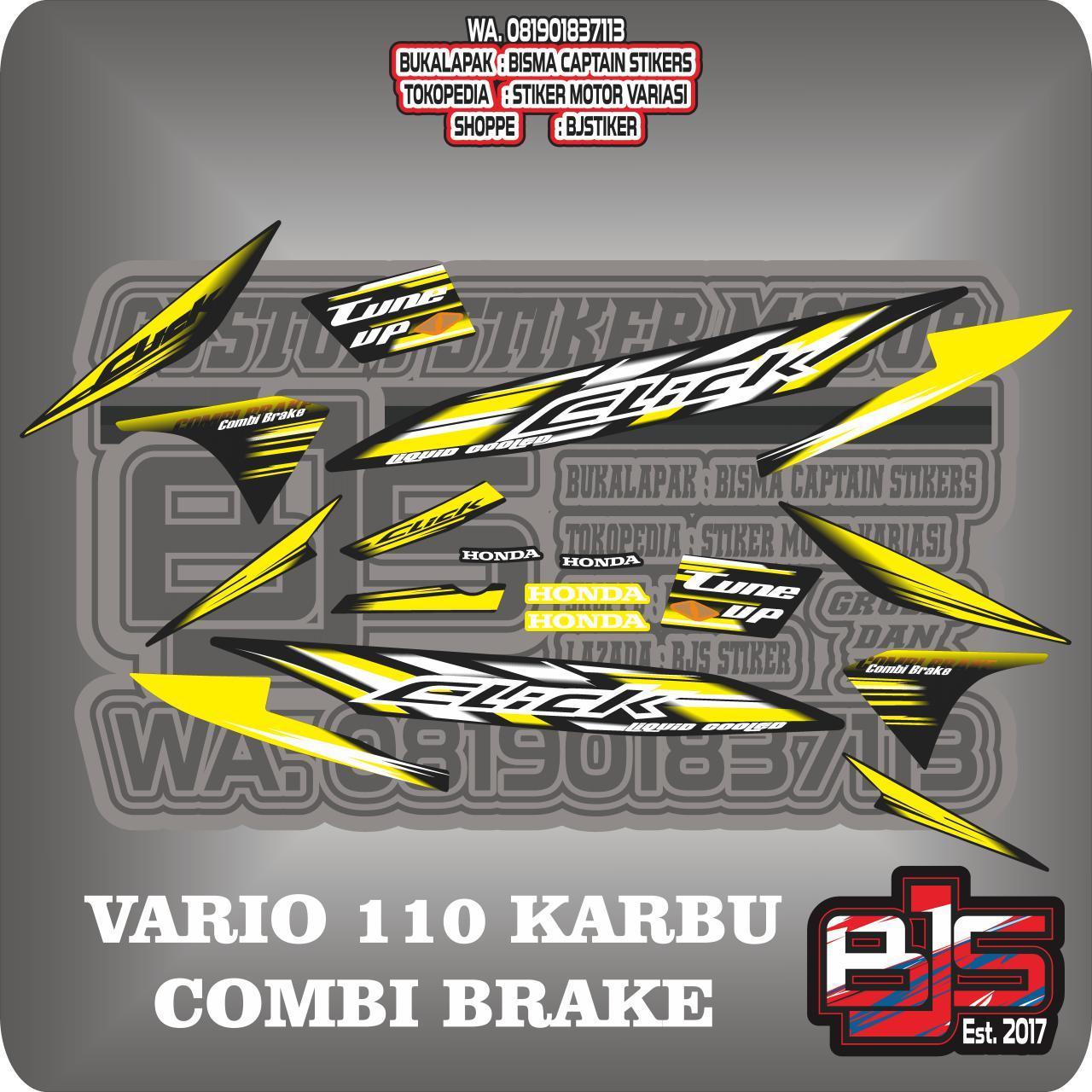 Detail gambar stiker striping list motor vario 110 karbu click combi brake terbaru