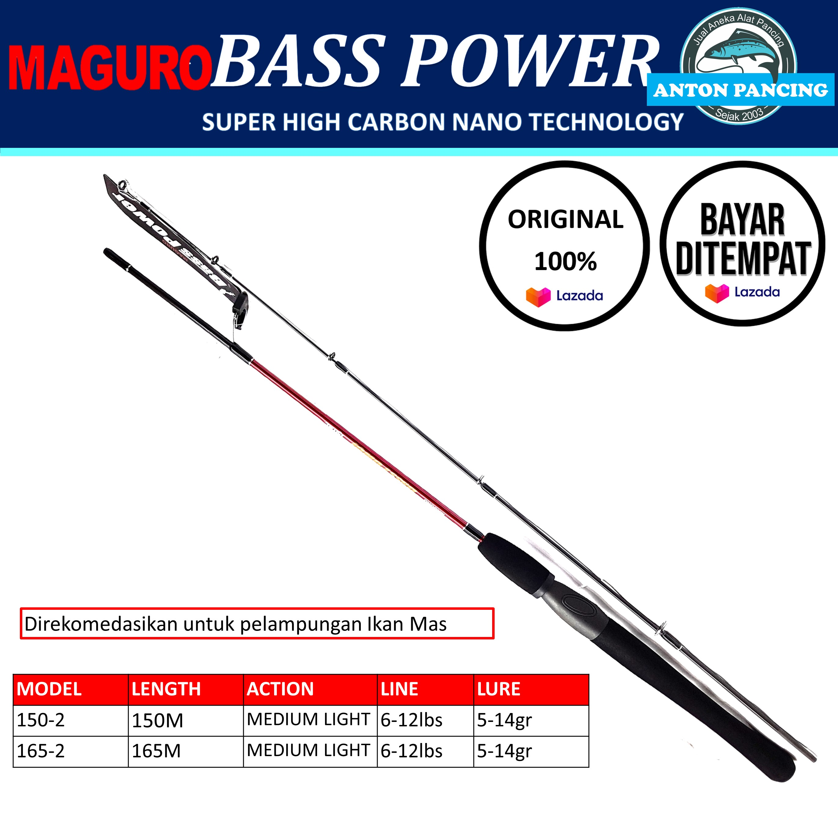 Joran Pancing Maguro Bass Power 150 cm 165 cm