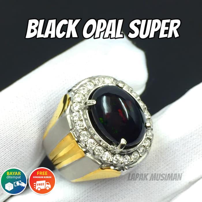 [bayar tempat] cincin natural kalimaya black opal afrika full jarong hq istimewa