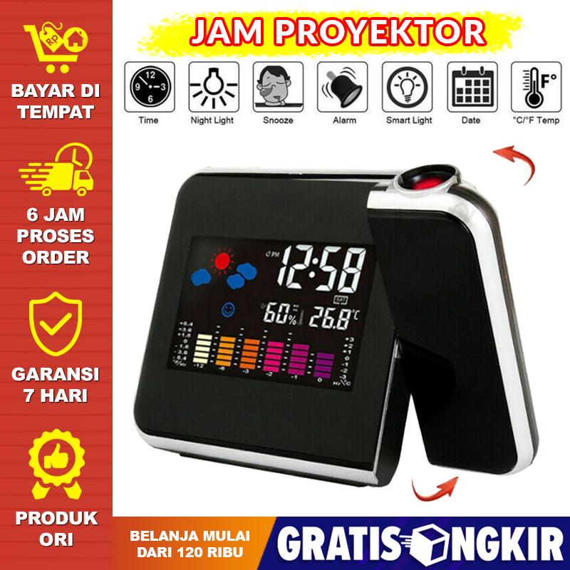 jam digital led proyektor jam dinding proyeksi penunjuk cuaca projector jam projektor