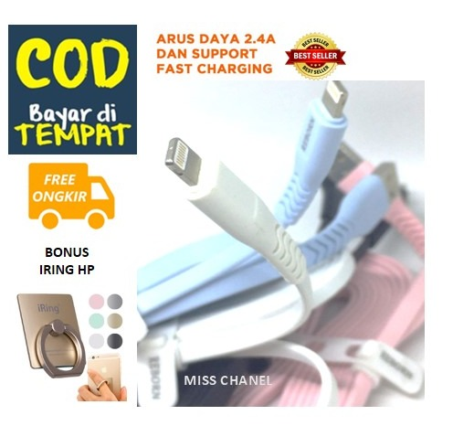 ( Promo Bonus Iring HP ) Kabel Data Fast Charging untuk Iphone Original Reborn - Kabel data daya isi cepat  Ukuran 2 meter  ( Multiwarna )