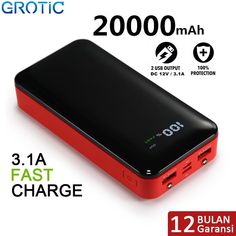 power bank grotic gyf20 20000mah 3.1a fast charging led flashlight 2 output 2 input powerbank