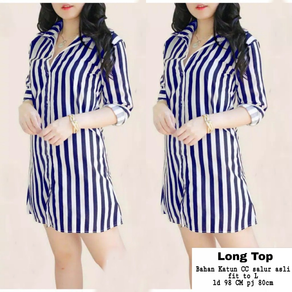 Kaina shop / Long Ribbon Stripe / Kameja Tunik Wanita Kekinian