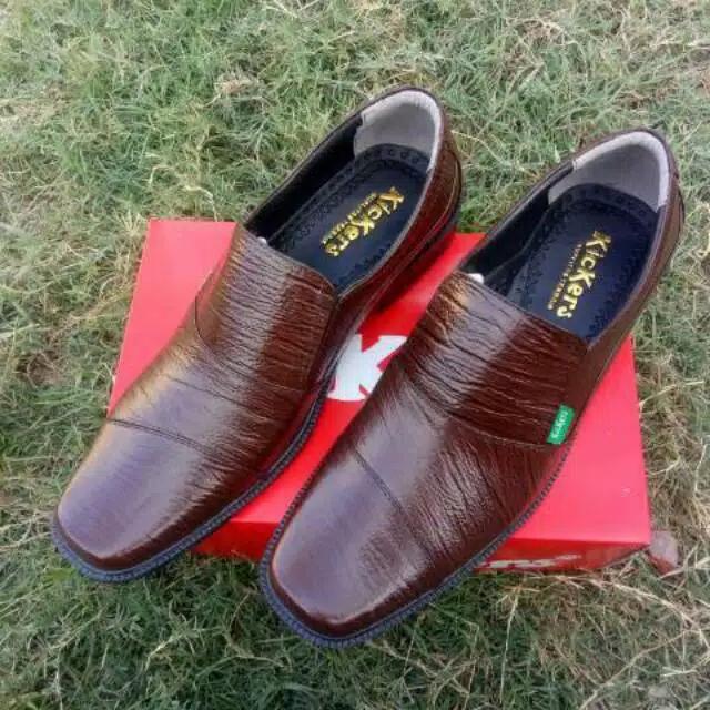 ... Sepatu Selop Kulit Sapi Asli Kerja Kantor Pantopel Vantovel Fantofel Formal - 3