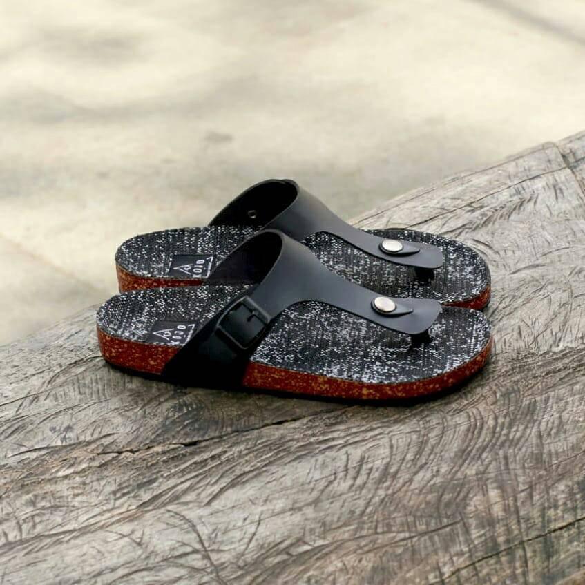 sendal pria kulit asli sandal casual flip flop triple strap 022