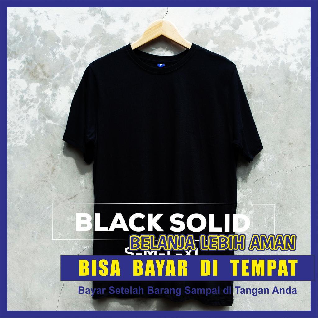 Baju Kaos Oblong Polos Hitam / BLACK SOLID Tangan / Lengan Pendek Pria Wanita