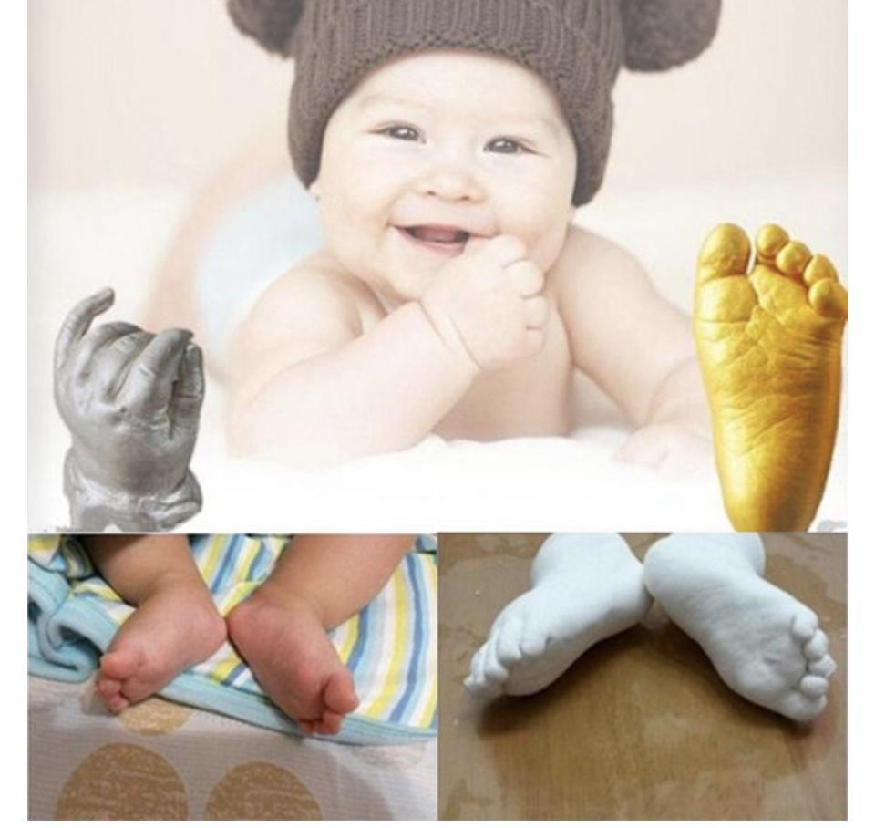 Bisa COD / Bayar di Tempat 3D Baby Hand & Foot Print Plaster Casting Kit Handprint ...