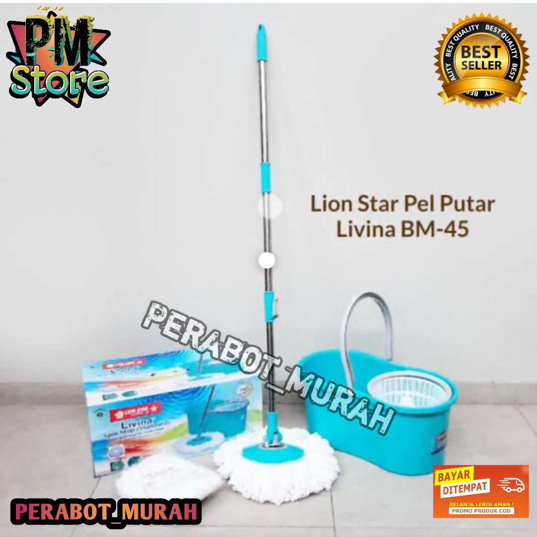 !! [bisa cod] lion star bm – 45 alat pel set livina spin mop