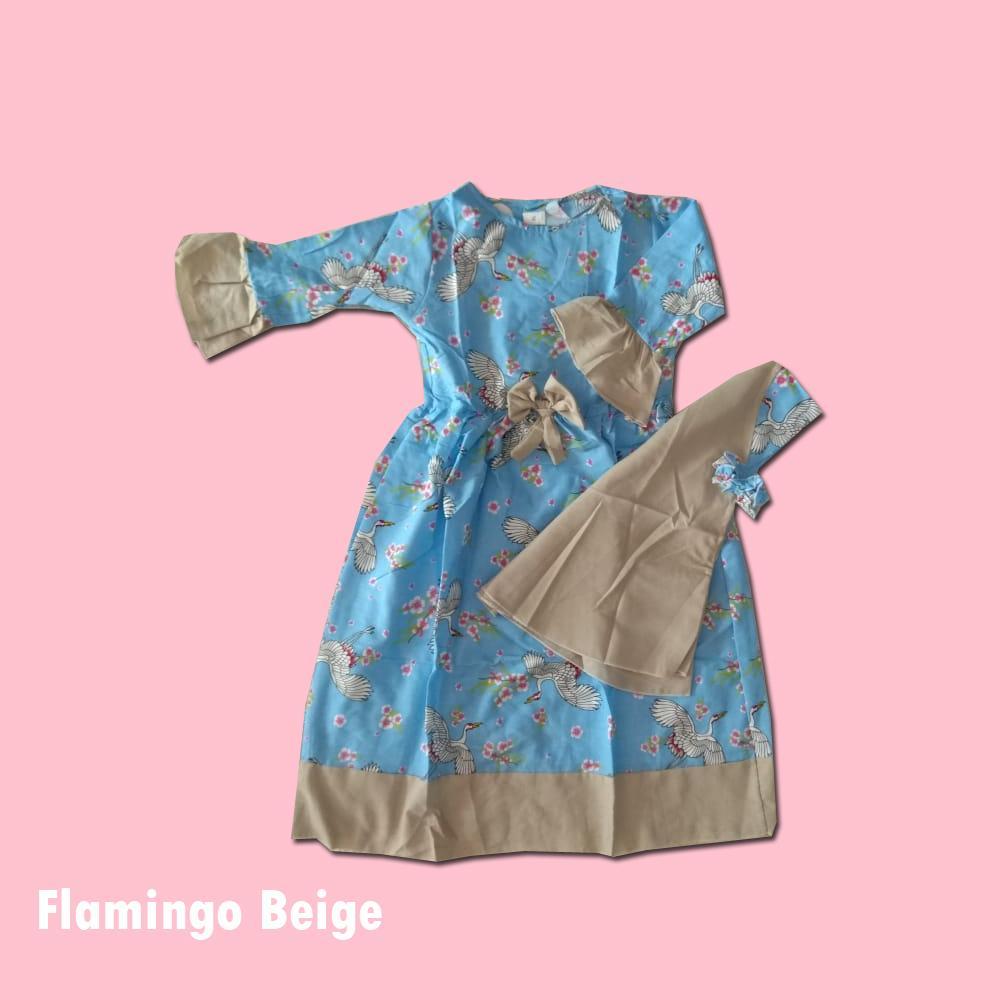 Gamis Anak Perempuan Shaliha - Setelan Baju Muslim Gamis + Jilbab Anak Flamingo Beige Size M