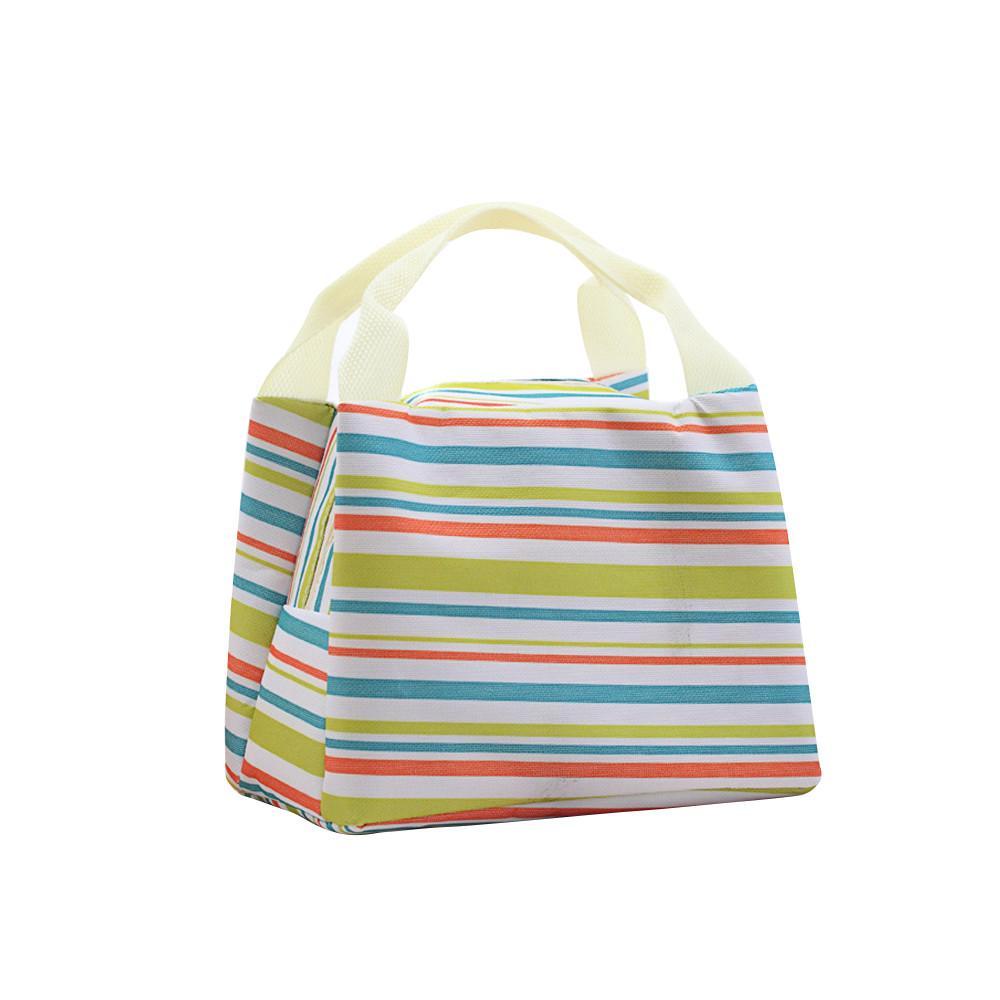 Detail Gambar Lunch Bag Cooler Bag Motif Salur/Garis Tas Bekal Makanan Panas Dingin atau