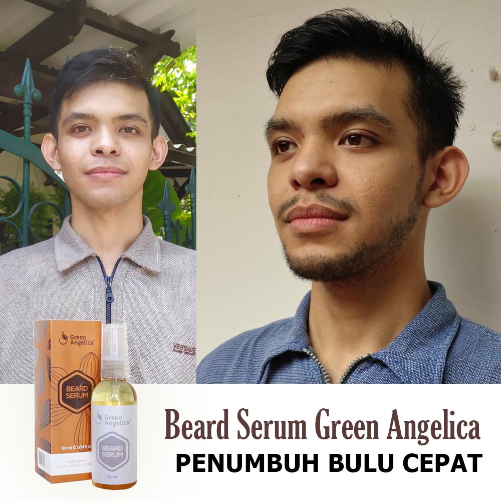 penumbuh brewok jenggot jambang alis kumis green angelica beard serum 50ml teruji bpom 100% ampuh