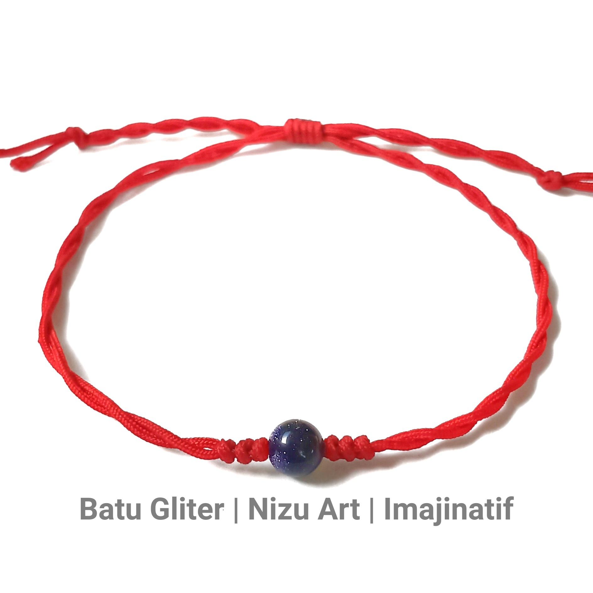gelang batu alam gliter tali giok etnik handmade pria wanita couple