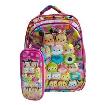 [0930010490] Tsum Tsum Tas Ransel Sekolah Anak SD Hard Cover Plus Tempat Pensil