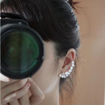 1 Pair Mode Silver Star Ear Tulang Clip ON EAR Cuff Anting Tidak Ada Pierce