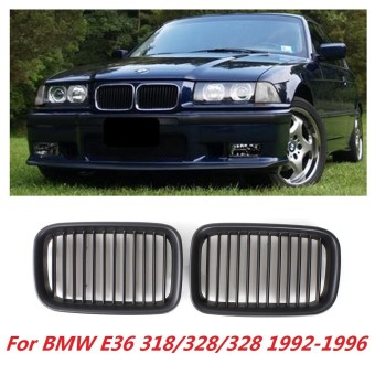 1 Pair Left and Right Matte Black Sport Kidney Grille Grill For BMW E36 318/328/328 1992 1993 1994 1995 1996 - intl