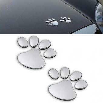 1 Pair Silver Dog Paw 3D PVC Car Sticker - intl