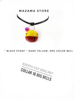 1 Pcs EDOTH Cat Dog Pet Collar 16 Big Bells Dark Yellow & Red Bells Colors