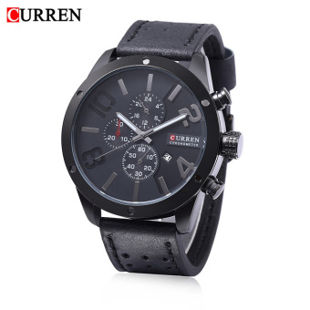 [100% Genuine]New Curren Calandar Male Business Quartz Watch 3ATM Decorative Sub-dial 30m Water Resistance Leather Band Wristwatch 8243