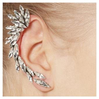 1 PC Crystal Bentuk Bulan Sabit Berlian Imitasi Telinga Kanan Cuff Clip Silver Earring Stud
