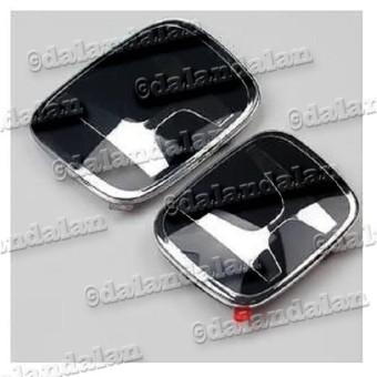 1pcs - Ukuran 12.3x10 - Emblem Logo Honda Hitam Depan Belakang Grill Gril Mobil Metal