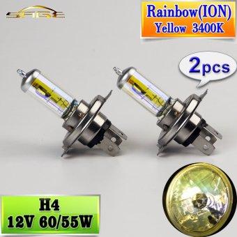 2 Pcs H4 Halogen Lampu 12 V 60/55 W Mobil Headlight Bulb 3400 K (Pelangi ION Kuning) Intl-Intl ...