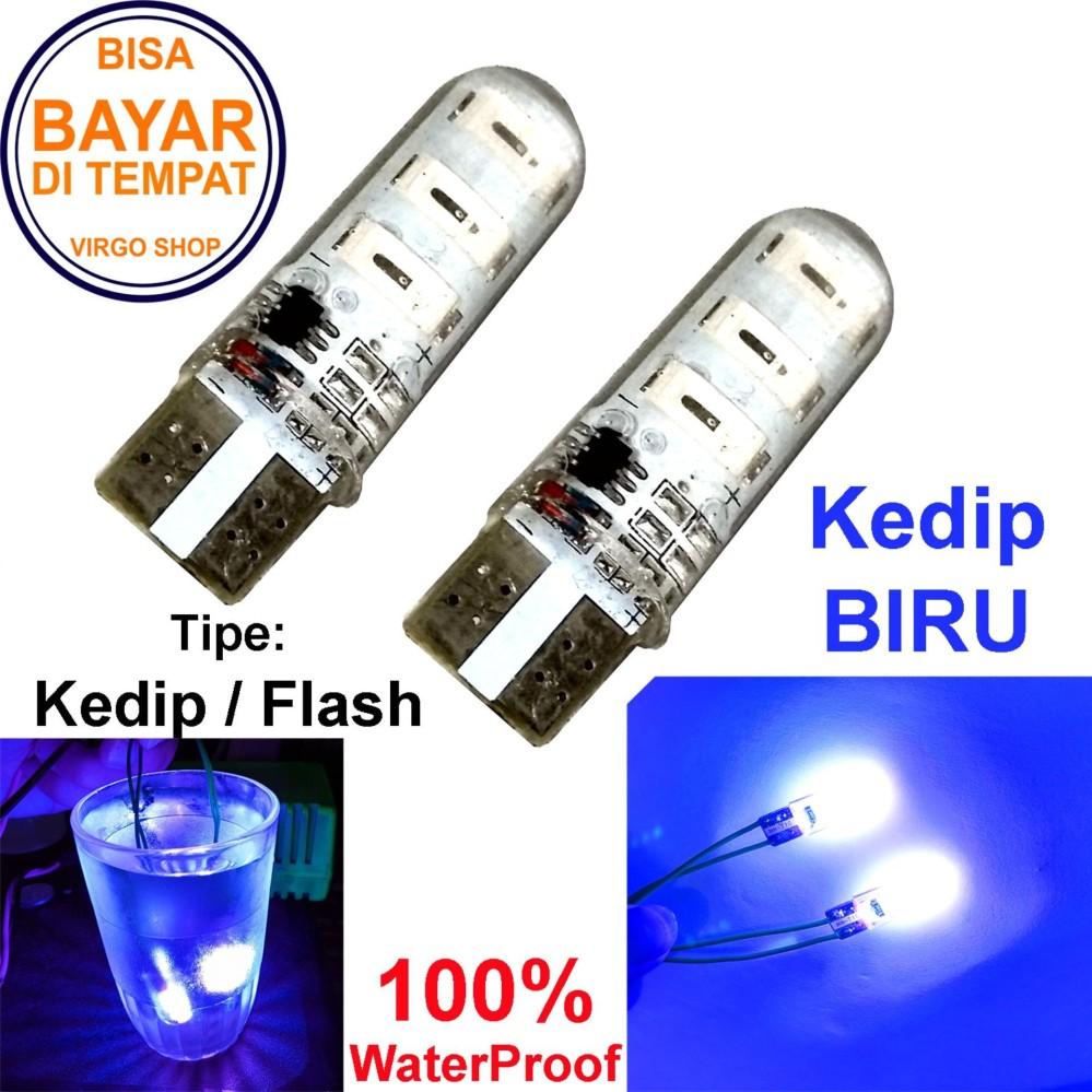 2 Pcs Led Tipe: Flash Kedip Gel / Jelly / Silicone Super Bright Soket T10