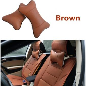 2 Pcs PU Leather Headrest Leher Bantal Mobil Auto Seat Cover Kepala Bantal Leher Bantal Sandaran