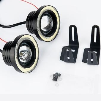 2pcs 89mm Waterproof Projector LED Fog Light With Lens Halo Angel Eyes Rings COB 30W Xenon White Blue 12V Off Road Fog Lamp(White) - intl
