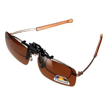2 Pcs Coklat Gelap/Hijau Mengemudi Terpolarisasi Membalik Badan Klip Lensa Pada Kacamata Hitam Kacamata