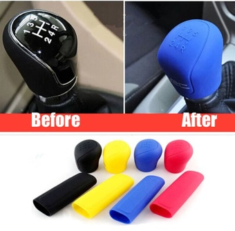 2Pcs Universal Manual Car Silicone Gear Head Shift Knob Cover Gear Shift Collars Handbrake Grip Car Hand Brake Covers Case Black - intl
