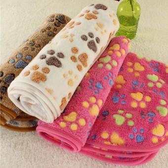 40x60 Cm Cute Paw untuk Hewan Peliharaan Anjing Kucing Mat Puppy Soft Coral Fleece Tempat Tidur