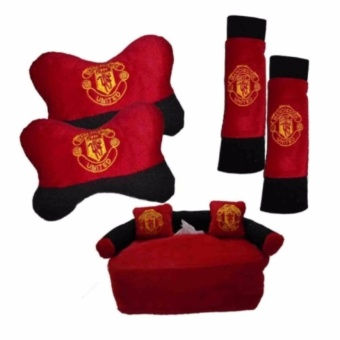 5in1 Car Set Bantal Mobil MANCESTER UNITED Cover Sarung Seat Safety Belt Bantal Kepala Leher Tempat Tissue