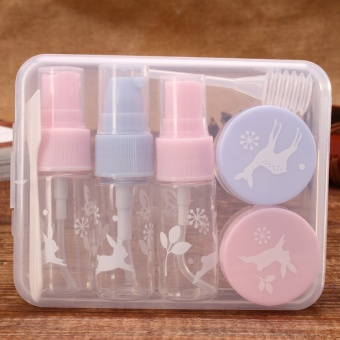 7 Pcs/set Portable Plastik Travel Kit Make Up Botol Botol Refillable Cream Botol Cream Stick Kosmetik Botol dengan BOX- INTL