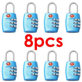 8 Pcs 3-Digit TSA Lock Resettable Kombinasi Kunci Gembok Koper Bagasi Perjalanan (Biru