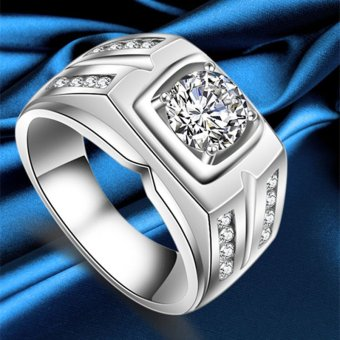 925 Sterling Silver male ring Plated Platinum wedding Rings withlarge CZ diamond men engagement ring fashion jewelry - intl