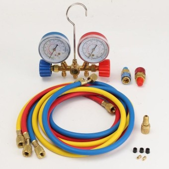 Jual R22 R12 R134a Hvac A C Manifold Gauge W 3 Charge Hoses Quick