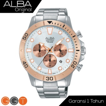 Alba Chronograph Jam Tangan - Strap Stainless Steel - AT3A08X1 - Gold White