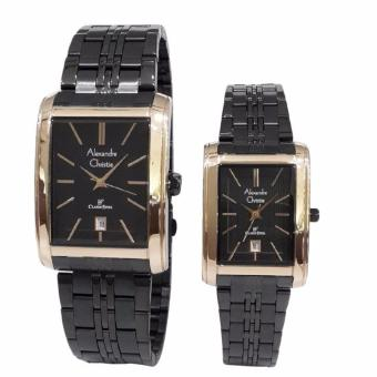 Alexandre Christie 8408LMDBBRBA Classic Steel Jam Tangan Couple - Black Rose Gold