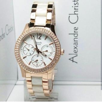 Alexandre Christie AC2608R Jam Tangan Wanita Stainless Ceramic Rose Gold Putih