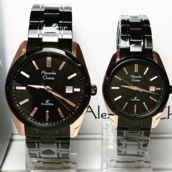 Alexandre Christie AC8514ML Jam Tangan Couple Stainless Steel Hitam Rosegold